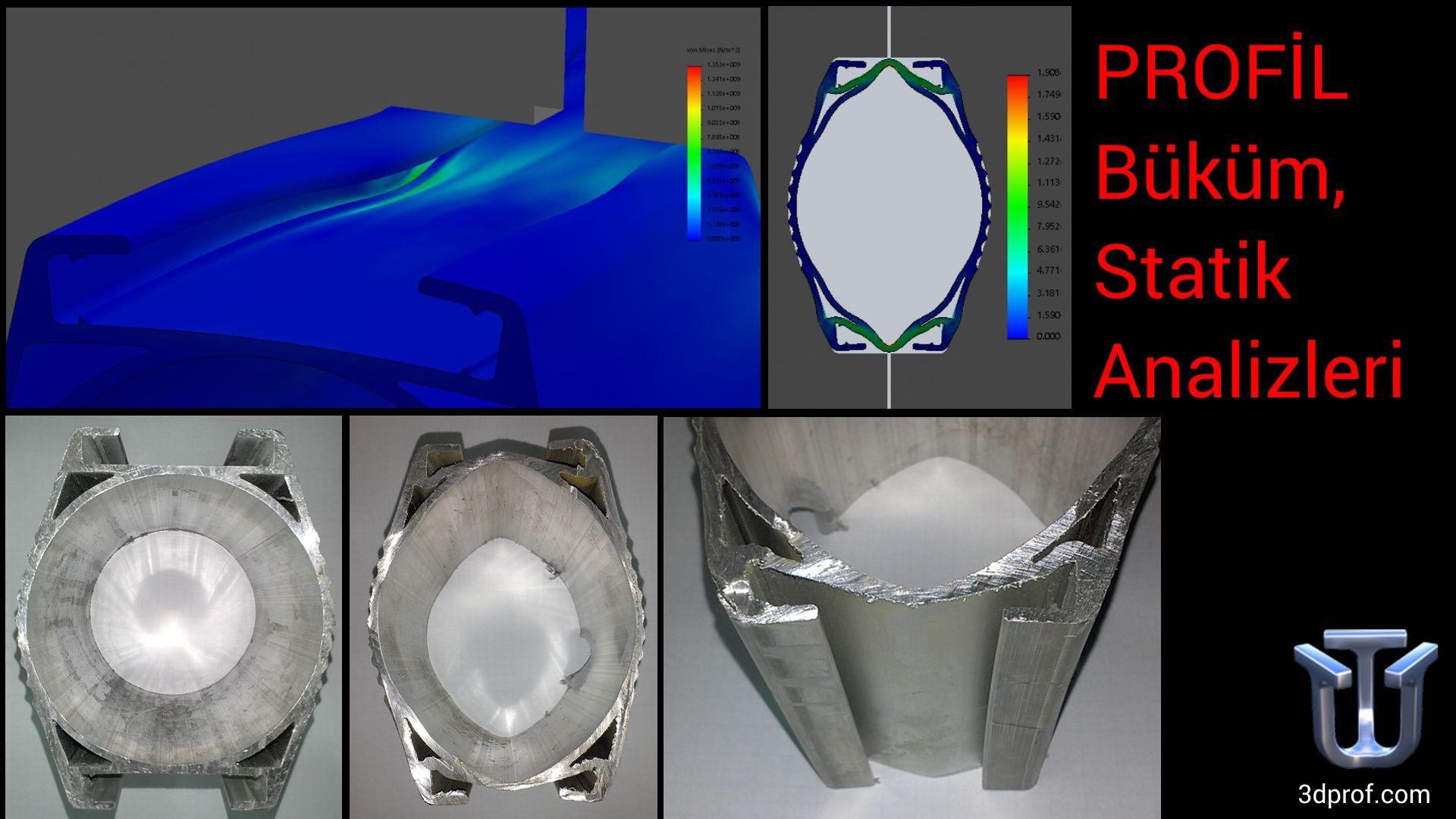 Alüminyum aydınlatma direği, Led profil büküm statik, stress analizleri